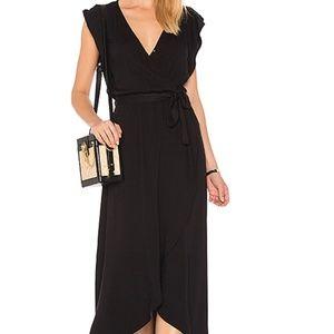 Splendid Black Ruffle Wrap Dress